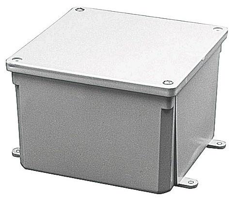 "Carlon Junction Box, 6"" x 6"" x 4"", Gray, Polycarbonate, Screw Cover"