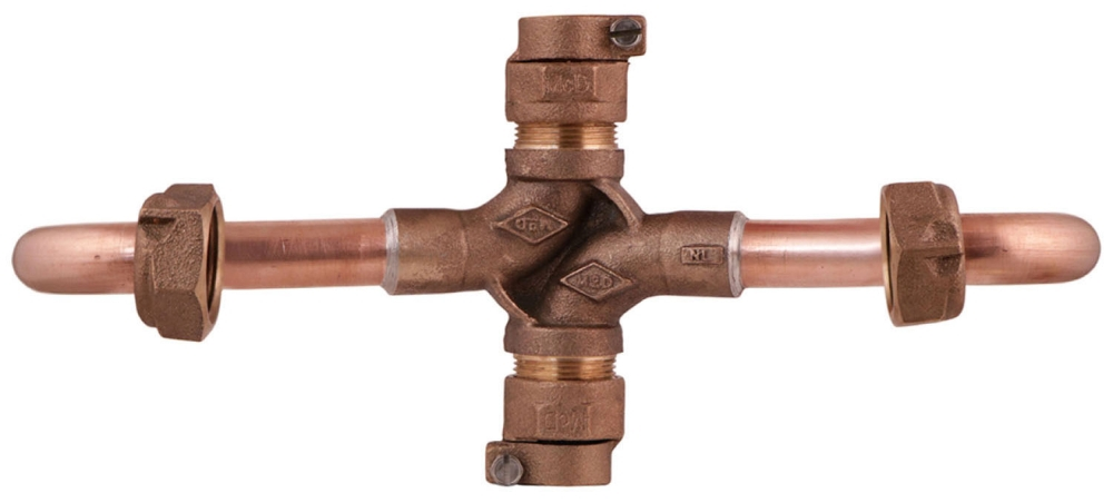 """A.Y. McDonald 3/4"""" x 3/4"""" Copper Meter Setter, Inside Setter Valve, H Style, -22 CTS Compression x -22 CTS Compression, Lead-Free"""