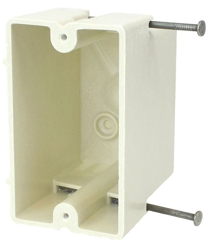 """Allied Moulded Products fiberglassBOX™ Electrical Switch Box, 2-1/4"""" x 3"""" x 3-13/16"""", 18 Cu Inch, Off White Fiberglass Reinforced Polyester, Angled Mid Nail Mount, 1-Gang, Tapped, Gangable, New Work, Wall Mount"""