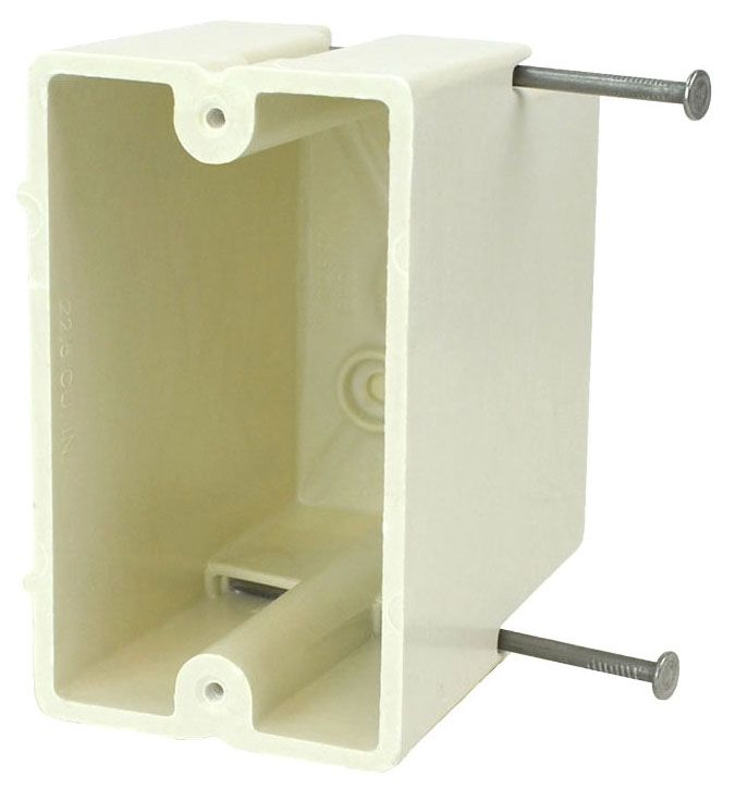 """Allied Moulded Products fiberglassBOX™ Electrical Switch Box, 2-1/4"""" x 3-9/16"""" x 3-27/32"""", 22.5 Cu Inch, Off White Fiberglass Reinforced Polyester, Angled Mid Nail Mount, 1-Gang, Tapped, Gangable, New Work, Wall Mount"""