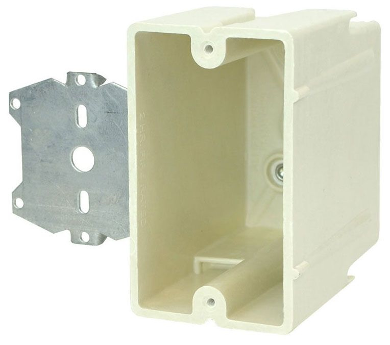 """Allied Moulded Products fiberglassBOX™ Electrical Switch Box, 2-1/4"""" x 3-9/16"""" x 3-27/32"""", 22.5 Cu Inch, Off White Fiberglass Reinforced Polyester, Stud Mount Z Hanger Bracket with 1/2"""" Offset Mount, 1-Gang, Tapped, Gangable, New Work, Wall Mount"""