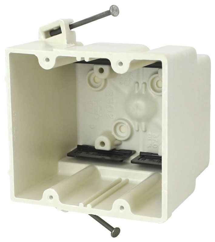 """Allied Moulded Products fiberglassBOX™ Electrical Switch Box, 4"""" x 3-7/16"""" x 3-3/4"""", 37 Cu Inch, Off White Fiberglass Reinforced Polyester, Angled Mid Nail Mount, 2-Gang, Tapped, Gangable, New Work, Wall Mount"""