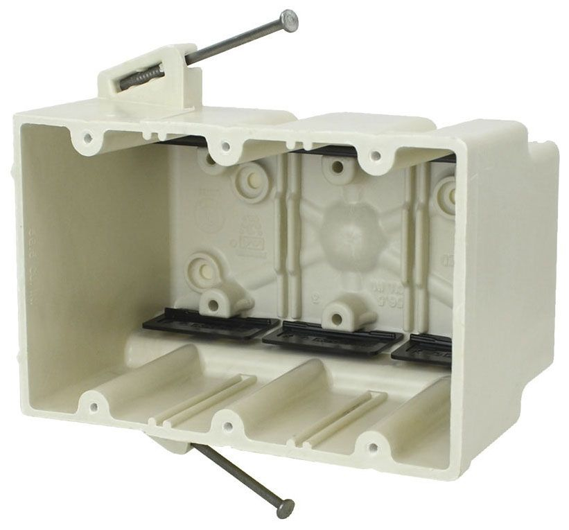"""Allied Moulded Products fiberglassBOX™ Electrical Switch Box, 5-11/16"""" x 3-9/16"""" x 3-3/4"""", 56.5 Cu Inch, Off White Fiberglass Reinforced Polyester, Angled Mid Nail Mount, 3-Gang, Tapped, Gangable, New Work, Wall Mount"""