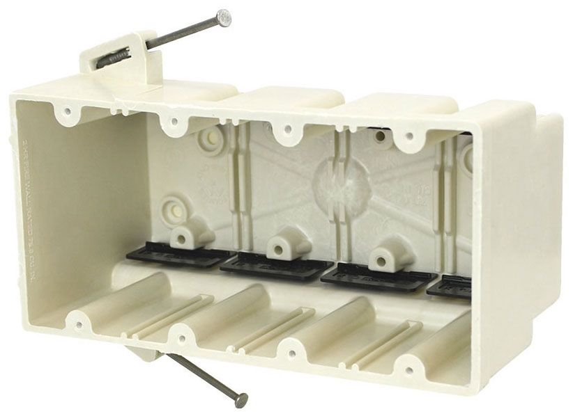 """Allied Moulded Products fiberglassBOX™ Electrical Switch Box, 7-1/2"""" x 3-9/16"""" x 3-3/4"""", 75 Cu Inch, Off White Fiberglass Reinforced Polyester, Angled Mid Nail Mount, 4-Gang, Tapped, Gangable, New Work, Wall Mount"""