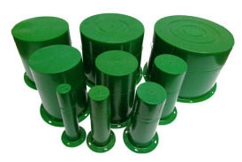 """Crete-Sleeve Hole Form, 6"""" Top/6-13/32"""" Base Diameter, 8-3/4"""" L, Green, Injection Molded HDPE"""