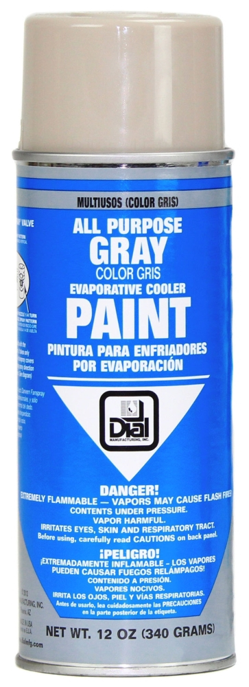 Dial Manufacturing Paint for Phoenix/Frigiking Evaporative Cooler, 12 Oz Can, Gray, Aerosol Exterior Spray