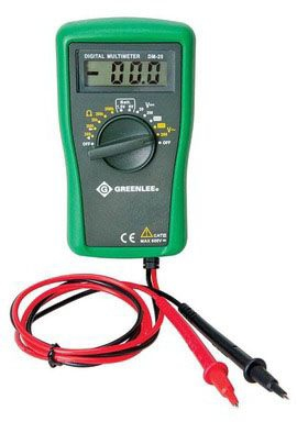 Greenlee Multimeter, 200/600 VAC, 20/200/600 VDC, 200/2000 Ohm, 20/200/2000 Kilo Ohm, 1.5V/9V Battery, Digital