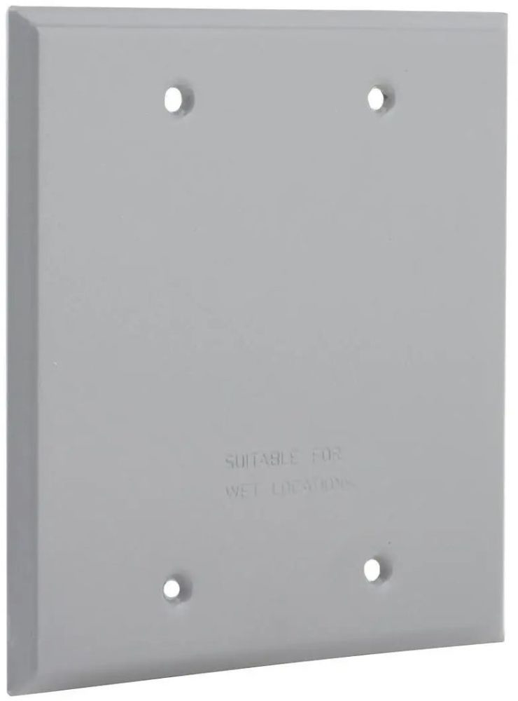 """Bell Outdoor Weatherproof Device Cover, 4.5"""" x 0.125"""" x 4.5"""", Gray, Powder Coated, Rugged Metallic, 2-Gang, Device Mount, Vertical Position, Flat, Blank"""