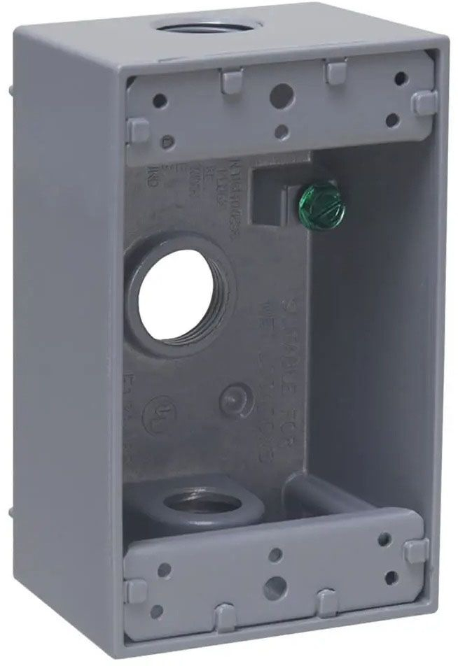 """Bell Outdoor Weatherproof Outlet Box, 2-3/4"""" x 2"""" x 4-1/2"""", 18.3 Cu Inch, (3) 1/2"""" Hub, Gray, Powder Coated, Die-Cast Aluminum, 1-Gang"""