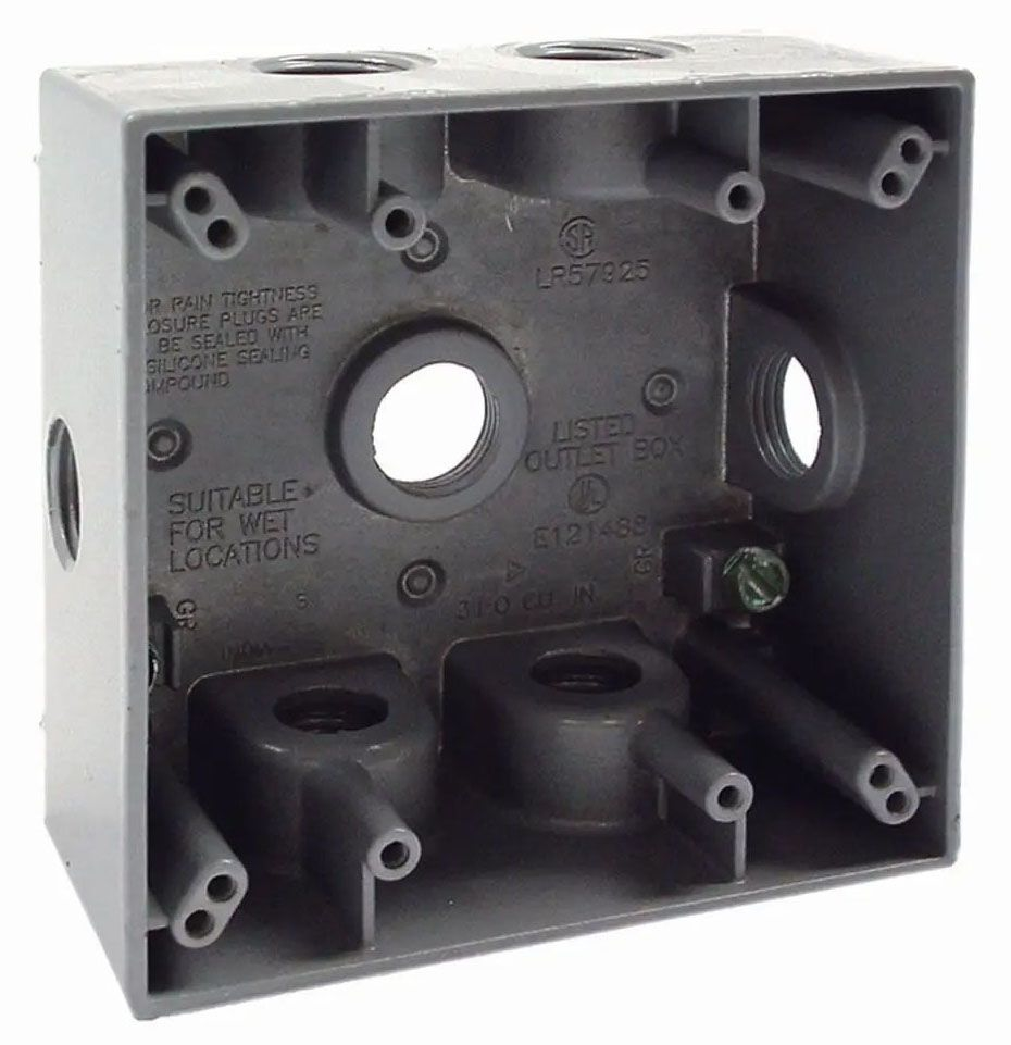 """Bell Outdoor Weatherproof Outlet Box, 4-1/2"""" x 2"""" x 4-1/2"""", 31 Cu Inch, (7) 1/2"""" Hub, Gray, Powder Coated, Die-Cast Aluminum, 2-Gang"""