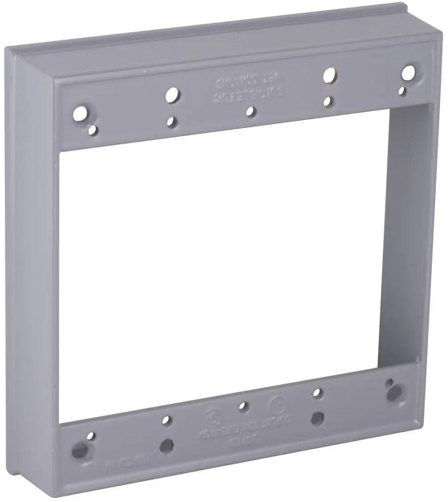 """Bell Outdoor Weatherproof Box Extension Ring, 4-21/32"""" x 1-1/32"""" x 4-21/32"""", 16 Cu Inch, Gray, Powder Coated, Die-Cast Aluminum, 2-Gang"""