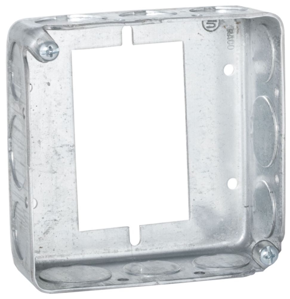 """Raco Square Outlet Box Extension Ring, 4"""" x 1-1/2"""" x 4"""", 22.5 Cu Inch, 12-Knockout, Gray, Pre-Galvanized Steel, Drawn"""