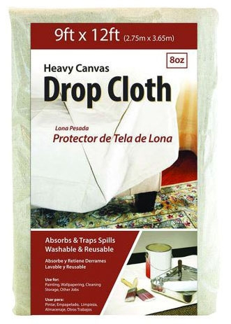 Jones Stephens Drop Cloth, 9' x 12', Cotton Canvas, Washable, Reusable