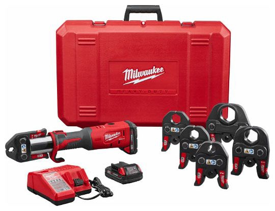 """Milwaukee Tool M18™, Force Logic™ Press Tool Kit with M18 Force Logic Press Tool/M18 Jaw/M18 and M12 Multi-Voltage Charger and M18 RedLithium CP2 Battery, 18 V, 1/2 to 4"""" Capacity, Cordless"""