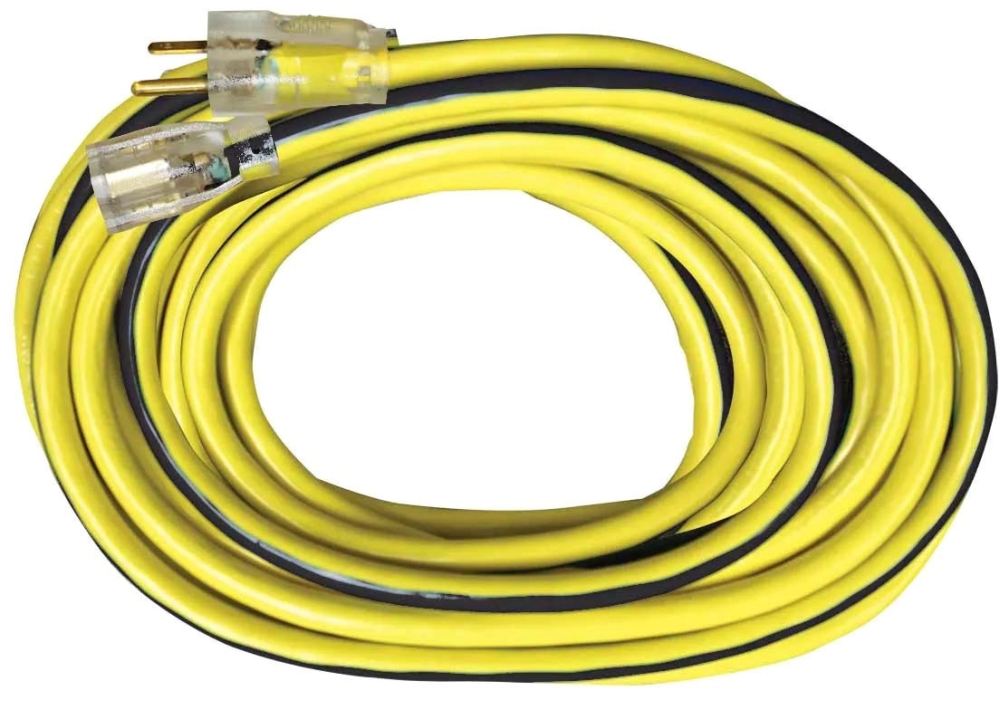 Voltec Power & Lighting Outdoor Extension Cord with Lighted End, 50', 300 V, 15 A, 12/3 AWG, SJTW, Yellow/Black, Heavy Duty