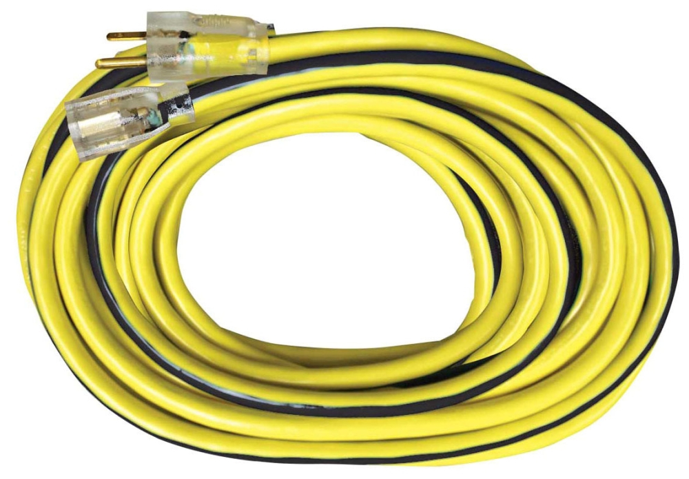 Voltec Power & Lighting Outdoor Extension Cord with Lighted End, 100', 300 V, 15 A, 12/3 AWG, SJTW, Yellow/Black, Heavy Duty