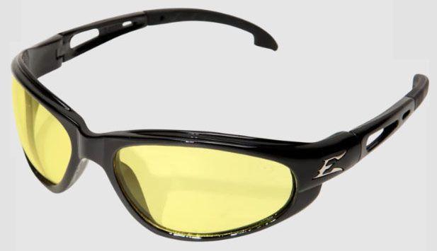 Edge Safety Eyewear Dakura Safety Glasses, Yellow Lens, Gloss Black, Nylon Frame, Non-Polarized
