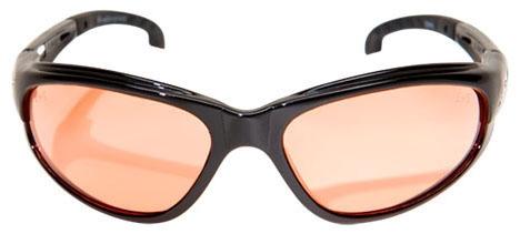 Edge Safety Eyewear Dakura Safety Glasses, Amber Lens, Gloss Black, Nylon Frame, Non-Polarized