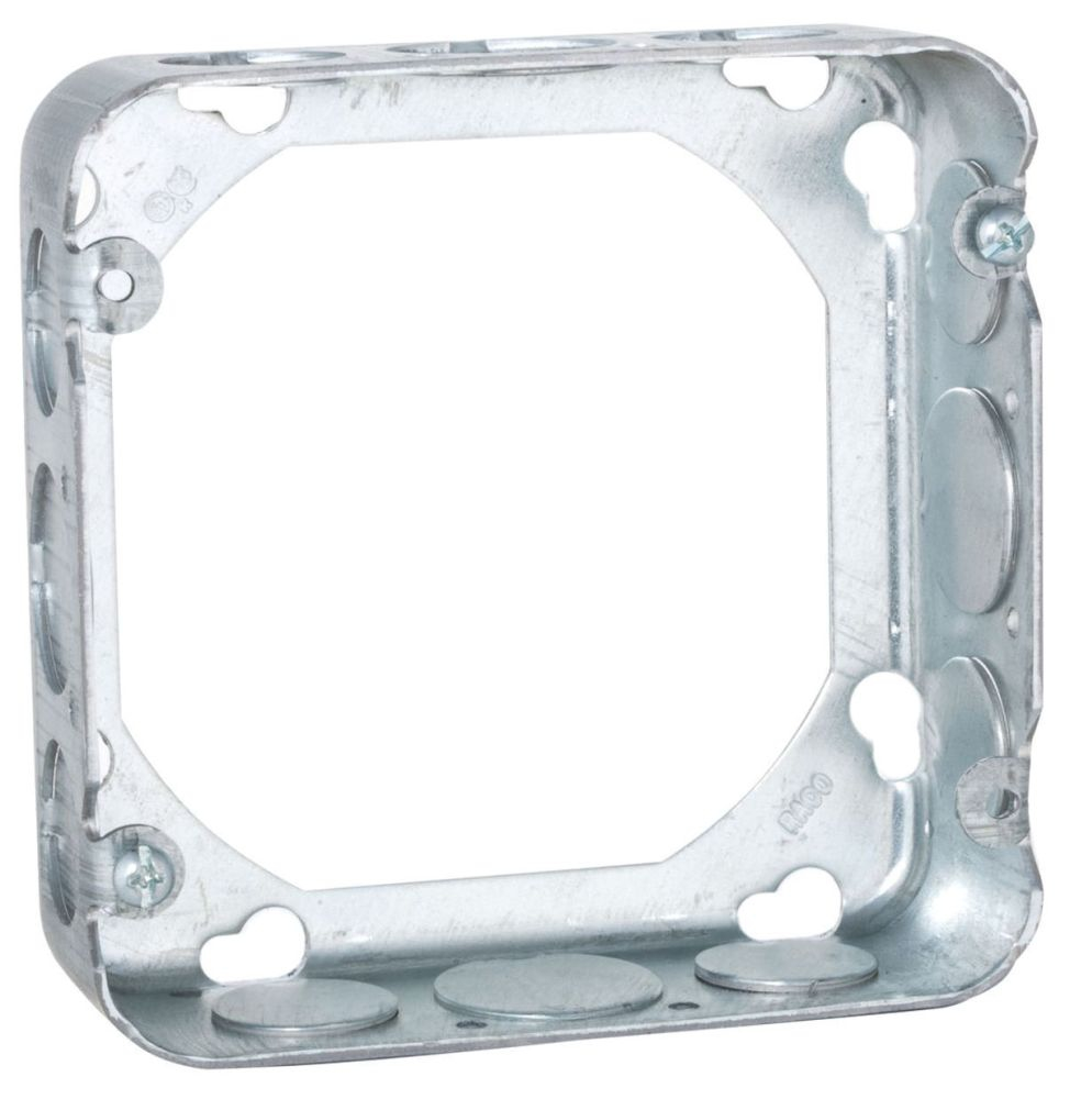 "Raco Square Outlet Box Extension Ring, 4-11/16"" x 1-1/2"" x 4-11/16"", 29.5 Cu Inch, 12-Knockout, Pre-Galvanized Steel, Drawn"