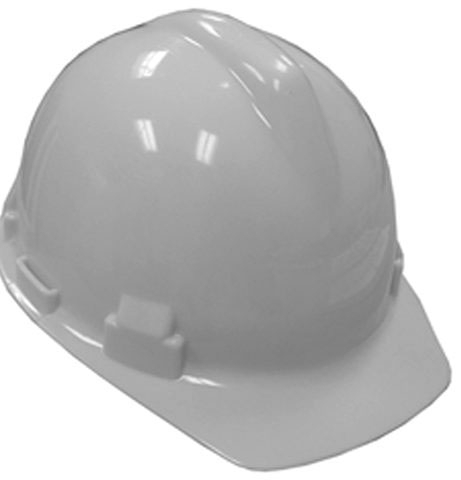"Jones Stephens Safety Hat with 4-Point Ratchet Suspension, 6-1/2 to 8"", White"