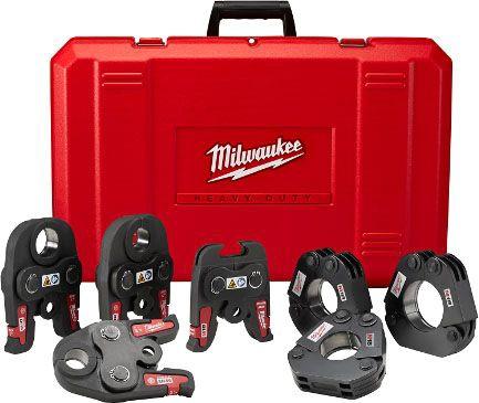 "Milwaukee Tool Press Tool Jaw Kit, 1/2 to 1"" Jaw, 1-1/4 to 2"" Ring, Black Iron"