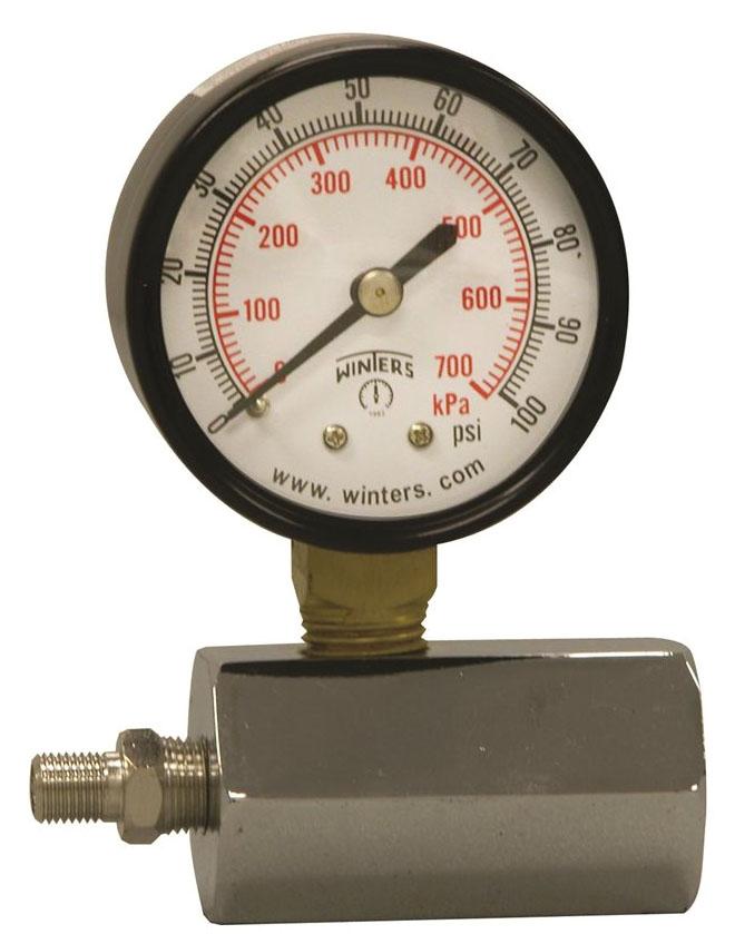 "Winters Instruments Gas Test Gauge, 3/4"" NPT, 2"" Dial, 0 to 100 PSI, +/- 3% Accuracy, Black Painted Steel Case, White Aluminum Dial, Black Aluminum Pointer, Polycarbonate Lens, Dual Scale"