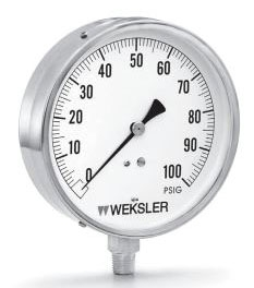 """1/4"""" NPT, 4-1/2"""" White Background Black Numeral Dial, 0 to 100 PSI, +/-2-1/2% Accuracy, Stainless Steel Case, Soft Soldered Phosphor Bronze Tube, Bottom Connection, Contractor Gauge"""
