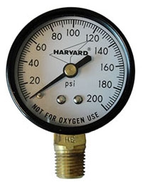 """1/4"""" MPT, 2"""" Dial, 0 to 200 PSI, +/-3% Accuracy, Lead-Free, Steel, Phosphor Bronze Bourdon Tube, Lower Connection, Pressure Gauge"""