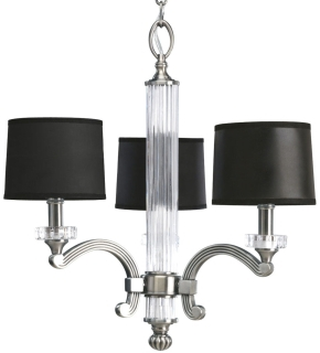 prg P4500-101 PRG 3-60C CLASSIC SILVER BLK & IVORY SHADE CRYSTAL CHANDELIER