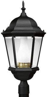 prg P5486-31 PRG 1/100W HPS (E17 BASE) BLK W/WHT GLS CHIMNEY POST TOP