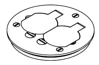 WMD 895T WMD 881 FLOOR BOX COVER DUPLEX F/ TILE BRASS