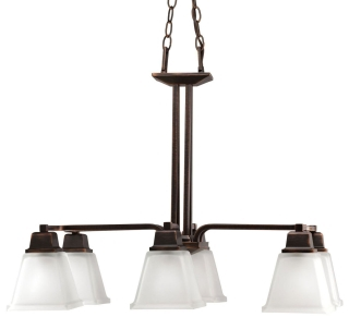 prg P4003-74 PRG 6/100 VENETIAN BRZ W/SQ ETCHED GLASS LINEAR CHANDELIER