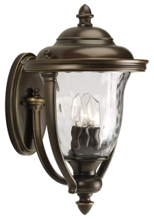 prg P5923-108 PRG 3/60 OILED RUBBED BRONZE W/WATER GLASS OUTDOOR LARGE WALL MOUNT