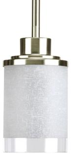 prg P5147-09 PRG 1/100 BN W/WHITE LINEN/CLEAR EDGE GLASS MINI PENDANT
