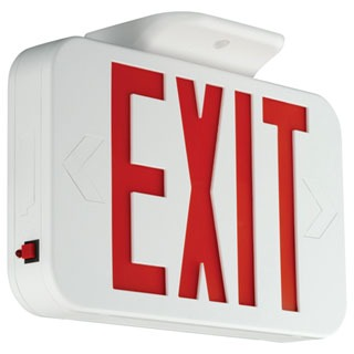 HUB CER HUB LED EXIT WHITE W/ RED LETTERS W/ BATTERY BACKUP