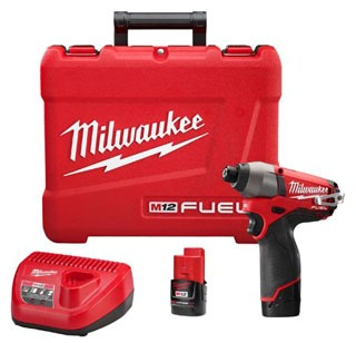 mil 2453-22 MIL M12 FUEL 1/4 HEX IMPACT DRIVER KIT W/2 BAT