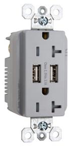 PAS TR-5362-USB-GRY PAS DECORA DUPLEX 20A 120V W/ 2-USB PORTS TAMPER RESISTANT GRY
