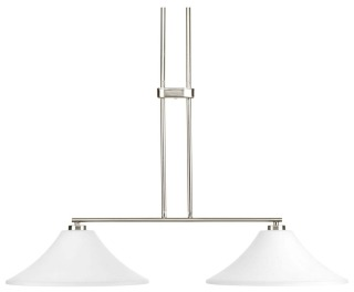 prg P4014-09 PRG 2/100 BN W/ETCHED WHITE GLASS LINEAR CHANDELIER