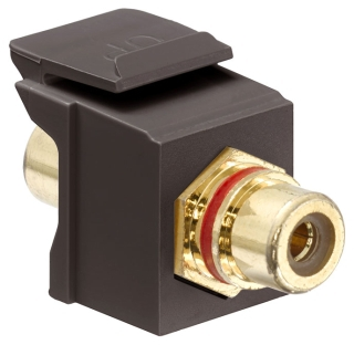 lev 40830-BBR LEV BROWN RCA SNAP PORT W/ RED RING