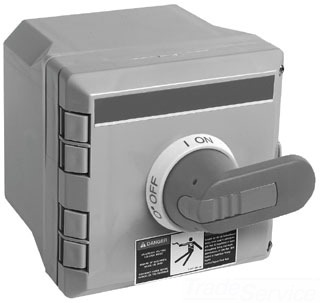 ABB ENF45P-3PB6 NON FUSIBLE; 240 V 1 PHASE, 600 V 3 PHASE; 60 AMPERE; POWER RATING 2 HP AT 120 V 1 PHASE, 5 HP AT 200/240 V 1 PHASE, 15 HP AT 200 TO 208/240 V 3 PHASE, 30 HP AT 480/600 V 3 PHASE; 3 POLE; BLACK PISTOL HANDLE OPERATOR; CONDUCTOR MATERIAL COPPER; 14 TO 1 AWG CONDUCTOR; PLASTIC ENCLOSURE; NEMA 4X ENCLOSURE; LUG TERMINAL; SIZE 6 INCH W X 8 INCH H; APPROVAL UL 508, CSA; BUSSMANN[R] BRAND; INCLUDES INTEGRAL GROUND LUG