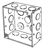 4SDEKRD APP 4X2-1/8 DEEP SQ BOX W/ ECCENTRIC KO'S RED