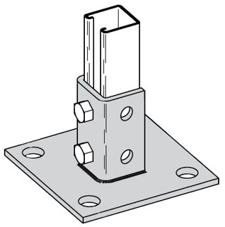 B280SQZN B-LINE POST BASE FOR 1 5/8-IN. X 1 5/8-IN. CHANNEL, 6-IN. X 6-IN. X 3 1/2-IN. BASE