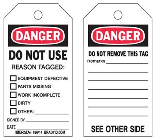 86533 BRADY ACCIDENT PREVENTION TAGS