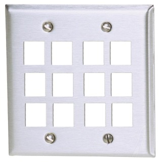 SSF212 HUBBELL PLATE, WALL,SS,2-G,12PORT