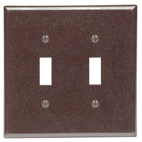 80509 LEV 2G MIDWAY PLATE W/2 TOGGLE BROWN