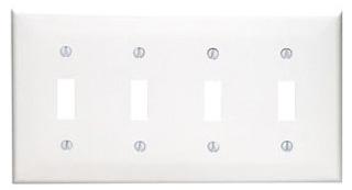 80712-W LEV 4G NYLON PLATE W/4 TOGGLE WHITE