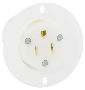 5279-C LEV 15A/125V 2P3W FLANGED OUTLET NYLON WHITE 5-15R