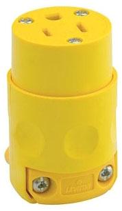 515-CV LEV 15A/125V 2P3W PVC GROUNDING CONN YELLOW 5-15R