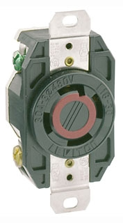 2730 LEV 30A/480V 3P4W SINGLE FLUSH LOCKING RECEP L16-30R