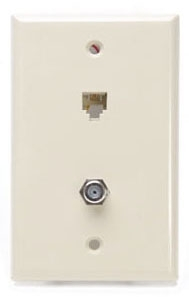 40259I LEV PHONE/CATV WALL MOUNT W/PLATE 6P4C IVORY